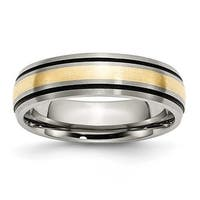 Chisel 14k Gold Inlaid Grooved Brushed and Antiqued Titanium Ring (6.0 mm)