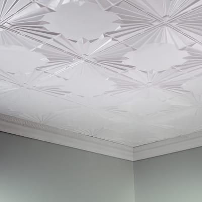 Fasade Art Deco Decorative Vinyl 2ft x 4ft Glue Up Ceiling Tile in Matte White