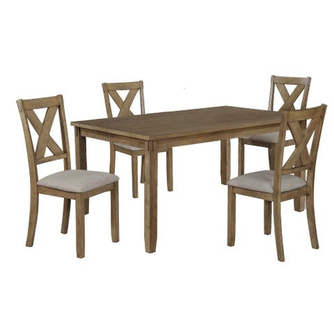 5 Piece Dining Set with 4 Fabric Padded Chairs and 1 Table, Brown and Gray