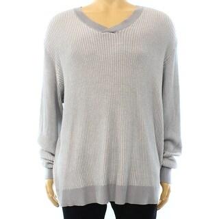 Alfani NEW Steel Gray Mens 2XL Pullover V-Neck Waffle-Knit Sweater