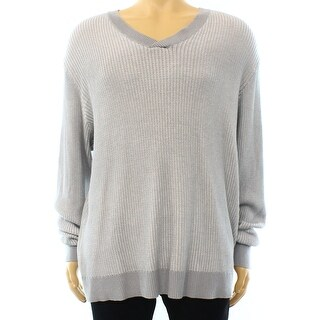 Alfani NEW Steel Gray Mens Size Large L V-Neck Waffle Knit Sweater