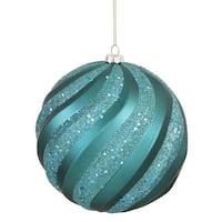 Vickerman M112024 Emerald Matte-Glitter Swirl Ball Ornament - 6 in.