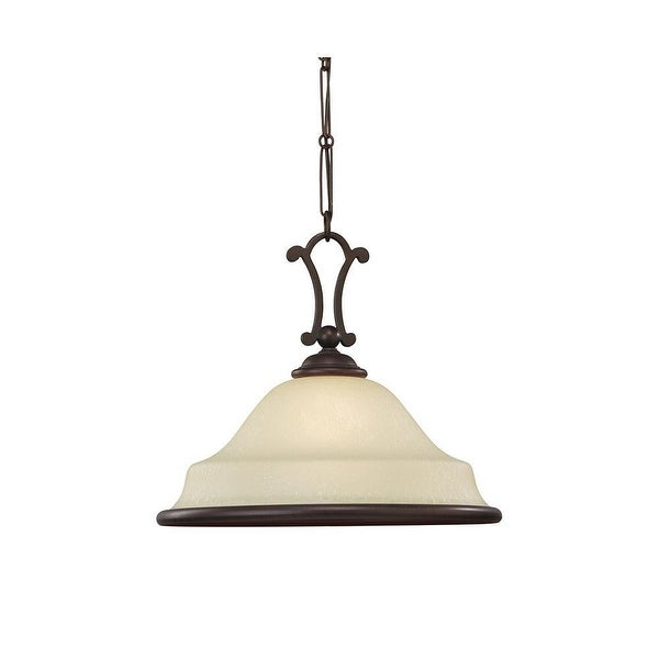 Sea Gull Lighting 65145-814 Acadia 1-Light Pendant Glass Shade Misted Bronze - Bronze Finish