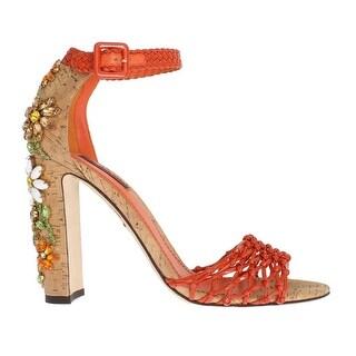 Dolce & Gabbana Orange Leather Cork Crystal Shoes - eu39-us8-5