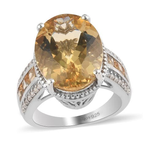 Shop LC 925 Sterling Silver Labradorite Citrine Ring Size 10 Ct 8.9