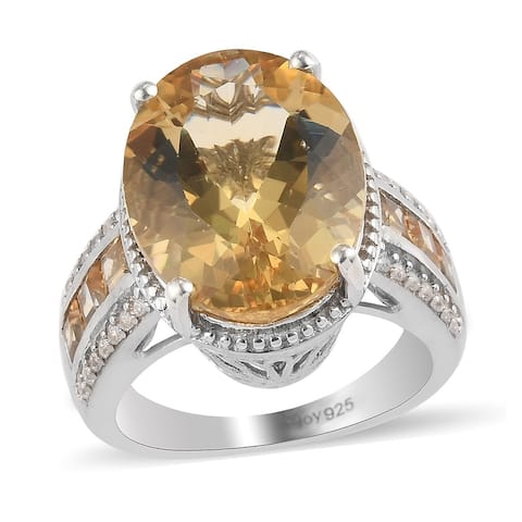Shop LC 925 Sterling Silver Labradorite Citrine Ring Size 7 Ct 8.9