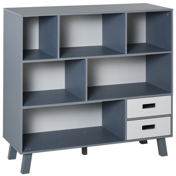 HOMCOM 3-Tier Child Bookcase Open Shelves Cabinet Floor Standing Home Office Storage Furniture Shelvin with Drawers. Opens flyout.