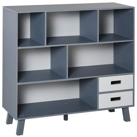 HOMCOM 3-Tier Child Bookcase Open Shelves Cabinet Floor Standing Home Office Storage Furniture Shelvin with Drawers