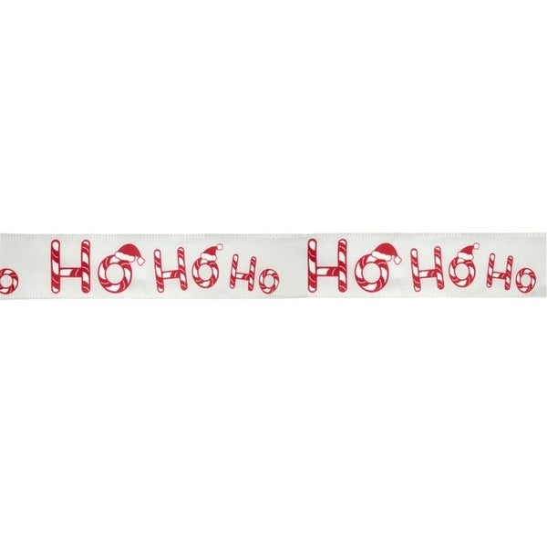 Pack of 6 Ho Ho Ho Red and White Wired Polyester Christmas Ribbons ...