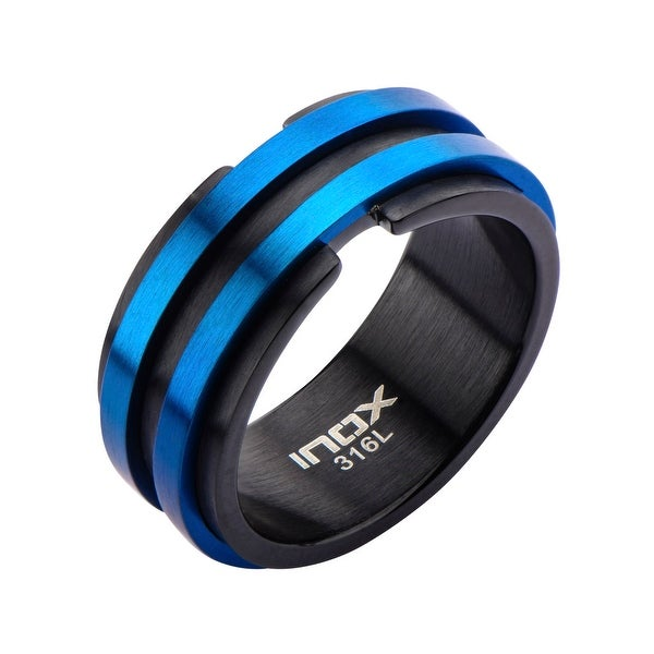 INOX Jewelry Men's Stainless Steel All Matte Finished Black and Blue IP Layer Ring