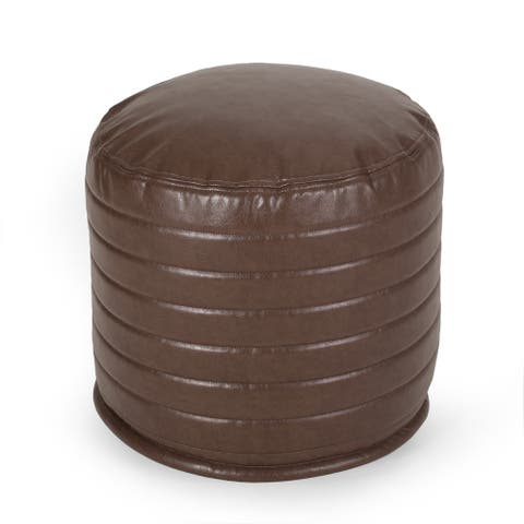Baddow Contemporary Faux Leather Channel Stitch Pouf by Christopher Knight Home
