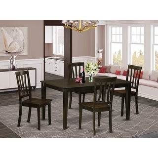 Link to CAAN5-CAP-W 5 Piece dining table set for -4 Dining table and 4 wood seat dining chairs Similar Items in Dining Room & Bar Furniture