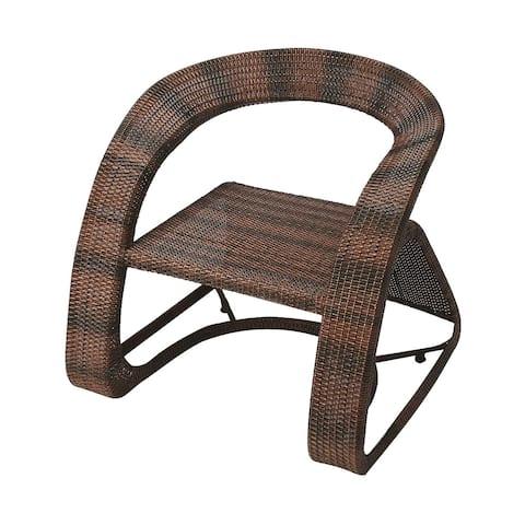 Offex Transitional Rectangular Rattan Chair - Dark Brown