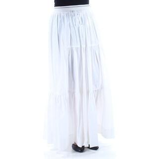 DKNY $448 Womens New 1317 White Ruffled Full-Length Peasant Casual Skirt S B+B