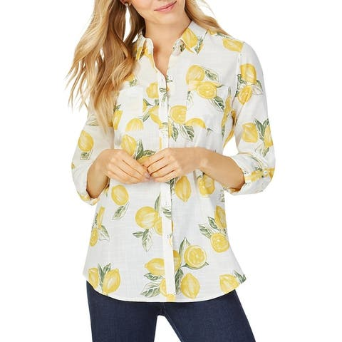 Foxcroft NYC Womens Zoey Button-Down Top Cotton Printed - Lemon Sorbet