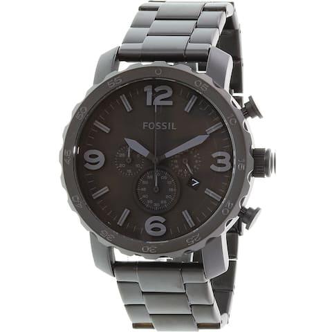 Fossil Men's Nate Black Stainless-Steel Quartz Fashion Watch