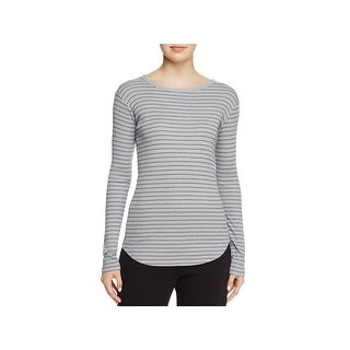 Vince Womens T-Shirt Double Pin Striped Boat Neckline Gray M