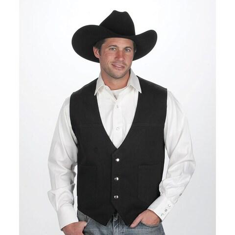Men's Black Cotton Denim Western Vest