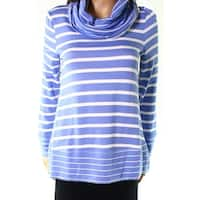 Cupio Blue White Womens Size Large L Striped Cowl Neck Knit Top