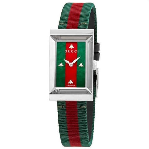 Gucci Women's YA147404 'G-Frame' Two-Tone Nylon Watch - Multi