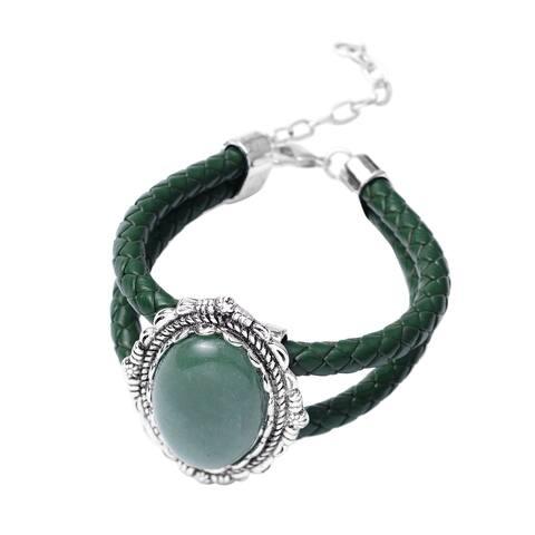 Shop LC Silvertone Green Aventurine Adjustable Bracelet Ct 60