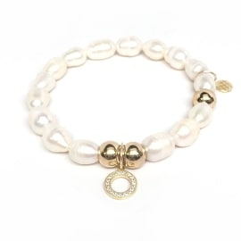 Freshwater Pearl Circle Charm stretch bracelet 14k over Sterling Silver