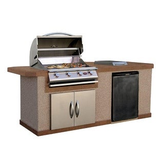 Link to Cal Flame 7 Foot Stucco 4 Burner Grill Island with Tile Top Similar Items in Grills & Outdoor Cooking
