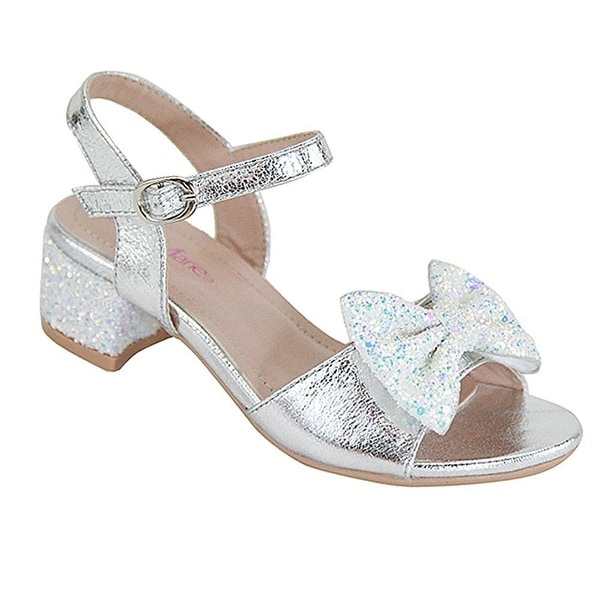 112b4efd2d1 Shop Bella Marie Girls Silver Glitter Bow Accent Block Low Heel Sandals -  Free Shipping On Orders Over  45 - Overstock - 25600655