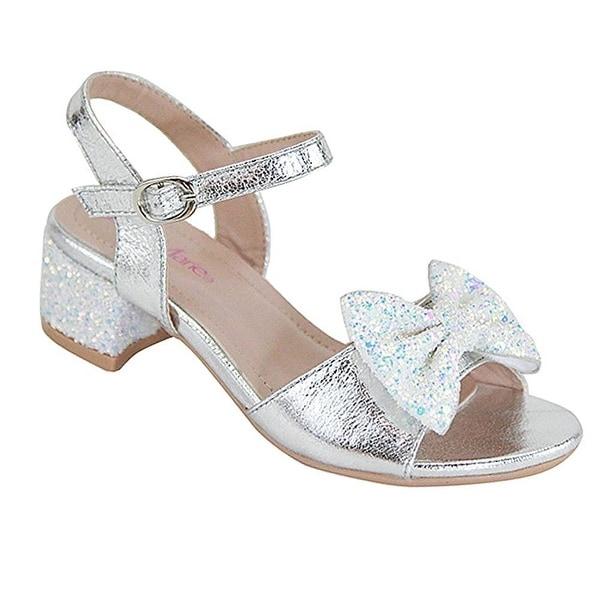 4e3204228c9 Bella Marie Little Girls Silver Glitter Bow Block Low Heel Sandals 9 Toddler