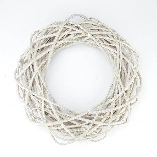 """15"""" Beige Pealed Weeping Willow Branches Artificial Spring Wreath - WHITE"""