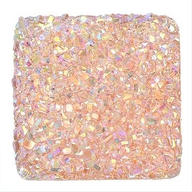 Dazzle It! Resin Sugar Stone Druzy, 25mm Square Sew-on Cabochons, 2 Pieces, Light Pink AB