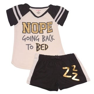 "Little Girls Ivory Black ""Nope Going Back To Bed"" Shorts 2 Pc Pajamas Set"