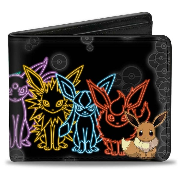 Electric Eevee Evolution Pokmon Pok Balls Black Grays Multi Color Bi Fold Bi-Fold Wallet - One Size Fits most
