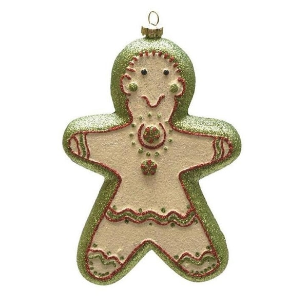 """6"""" Merry & Bright Green, White and Red Glittered Shatterproof Gingerbread Girl Christmas Ornament"""
