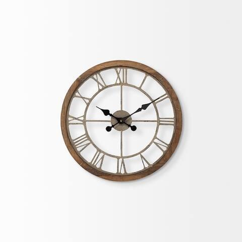 "Mercana Mething Light Brown 19"" Small Farmhouse Wall Clock - 19.0L x 18.9W x 2.0H"