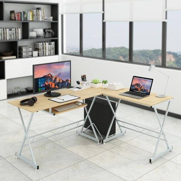 Shop Slypnos L Shaped Corner Computer Desk Pc Gaming Table Laptop