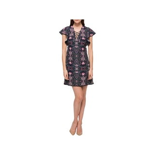 Jessica Simpson Womens Casual Dress Floral Print Lace-Up