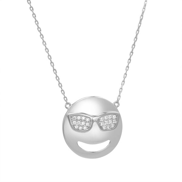 Amanda Rose Cubic Zirconia Cool Sunglasses Emoji Pendant-Necklace in Sterling Silver on an 18 inch chain