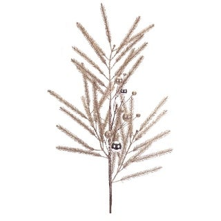 """Club Pack of 12 Champagne Decorative Artificial Glittered Pine Christmas Sprays with Ornaments 33"""""""