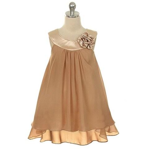 Kids Dream Little Girls Champagne Chiffon A Line Flower Girl Dress 2-14