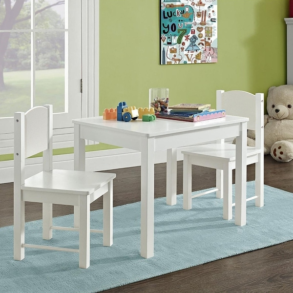 Kid's Table and 2 chairs Set Solid Hard Wood sturdy child table and chairs. Opens flyout.
