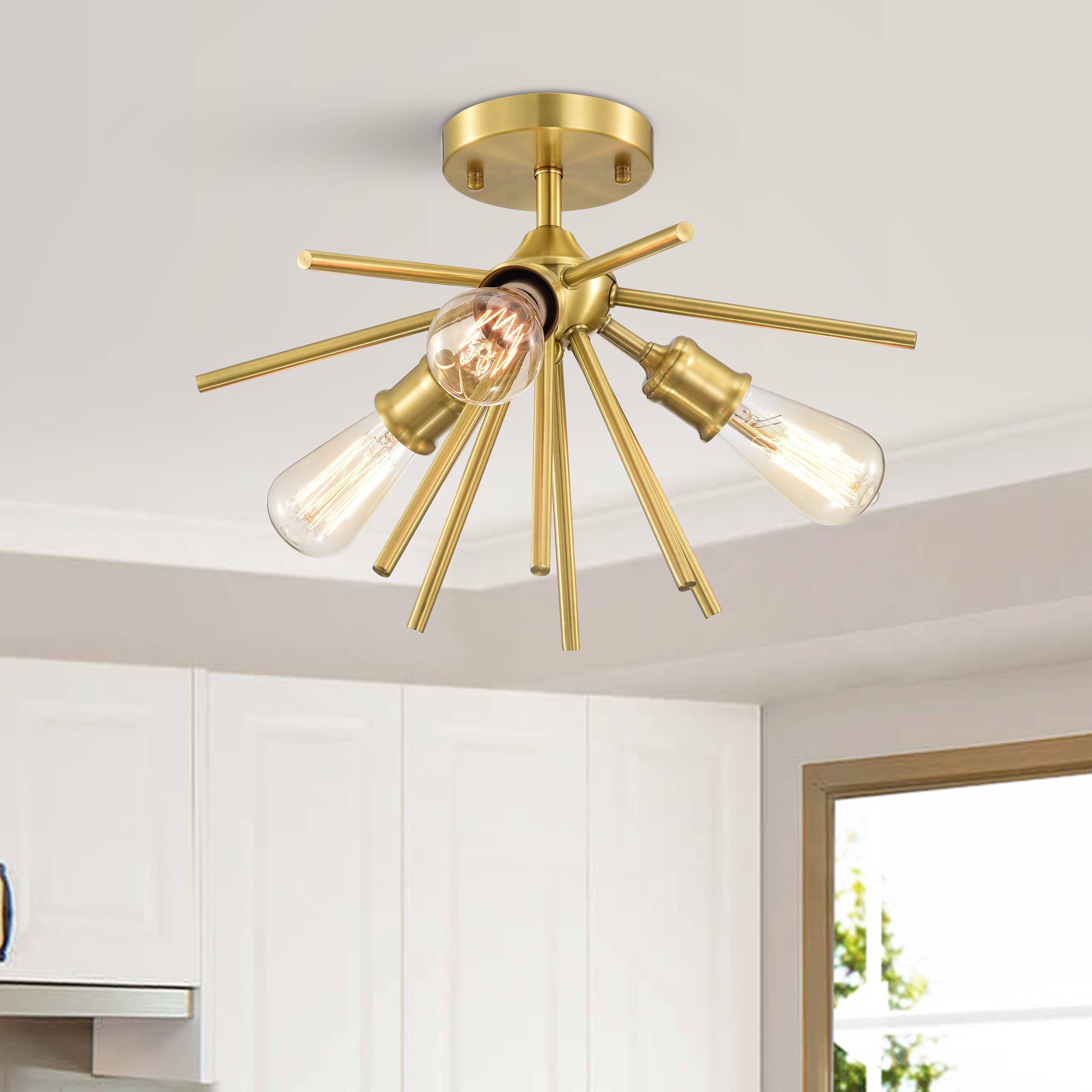 Sandra 3 Light Antique Gold Sputnik Flush Mount Chandelier Overstock 31492106