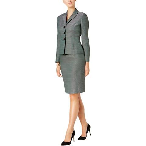 Le Suit Womens Petites Skirt Suit Tweed 3-Button