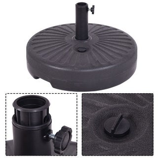 Costway 20u0027u0027 Round 23L Water Filled Umbrella Base Stand Self Filled Patio  Furniture