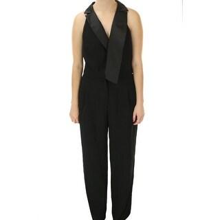 Xscape NEW Solid Black Women's Size 10 Satin Collar Wide-Leg Jumpsuit