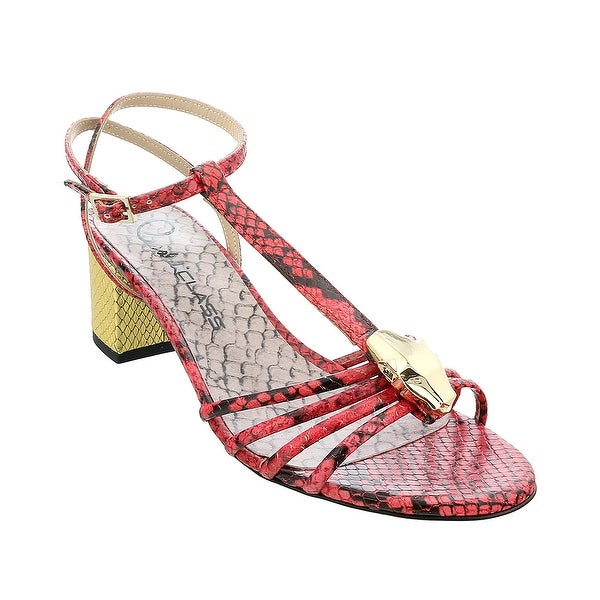 Roberto Cavalli Class Coral/Gold Leather Classic Sling Back Mid Heel Shoes-. Opens flyout.