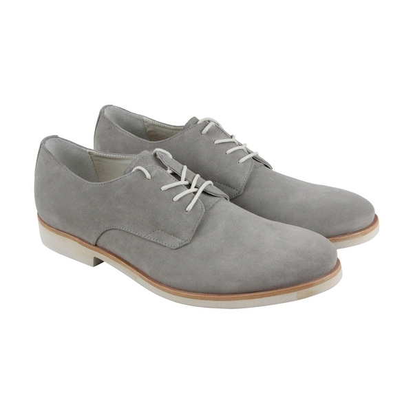 Calvin Klein Faustino Oily Mens Gray Suede Casual Dress Lace Up Oxfords Shoes