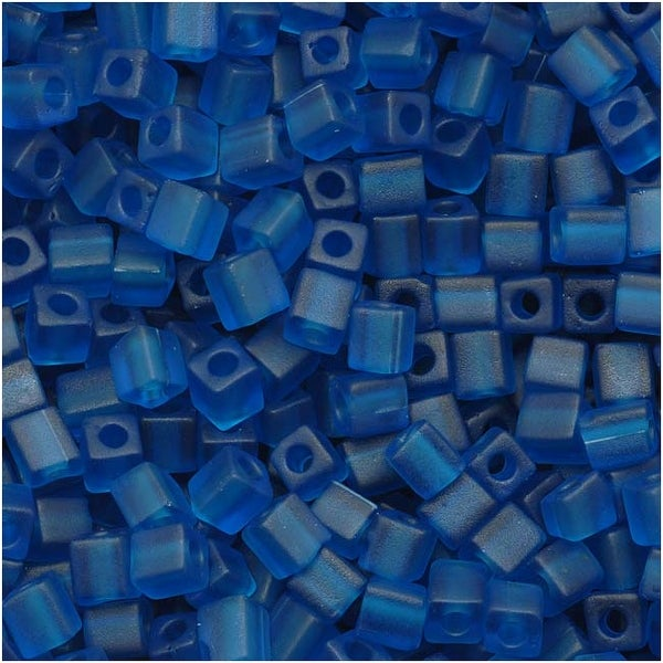 Miyuki 4mm Glass Cube Beads Transparent Matte Capri Blue 149F 10 Grams
