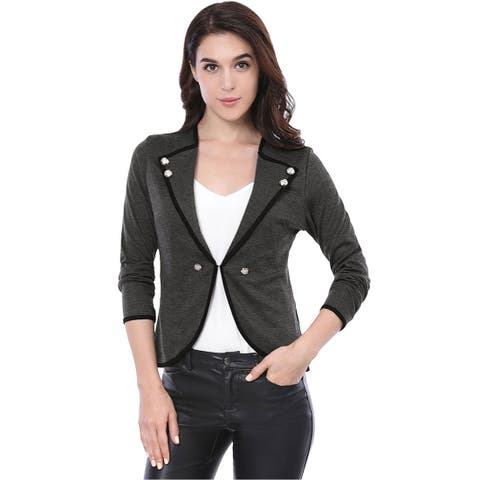 Allegra K Women's Notched Lapel Buttons Decor Piped Blazer - Gray