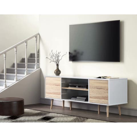 TV Stand for 60 inch TV Entertainment Center,White & Oak-53 inch - 59""